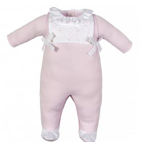 Laranjinha little girls pink and white babygrow with ruffled collar, embroidered bib and bow detail.