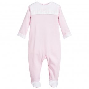 Laranjinha little girls pink and white babygrow