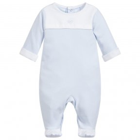 Laranjinha baby boys blue cotton babygrow