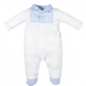 Laranjinha baby boys white & blue cotton Babygrow with popper fastening
