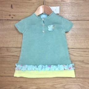 Floc 2 piece dress and bloomers green, yellow and floral set