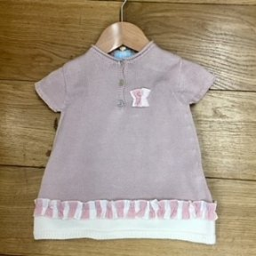 Floc girls rose pink and cream 2 piece dress and striped bloomers set.