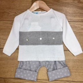Floc Unisex baby grey & white 2 piece jumper & trouser starfish set