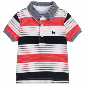 Mayoral boys  navy blue and coral striped cotton polo shirt with dog motif
