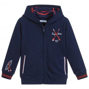 Navy blue hooded top ideal for active little boys. Made in soft cotton jersey, with a lined hood, it has side pockets and watersports embroidery on the chest, cuff and hood.