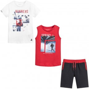 A casual three-piece outfit for boys by Mayoral, made in soft and comfortable cotton jersey. The set comprises a pair of navy blue shorts with two T-shirts, one red and one white. Both tops have a sports print on the front and the shorts have an elasticat