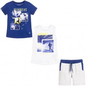 A casual three-piece outfit for boys by Mayoral, made in soft and comfortable cotton jersey. The set comprises a pair of grey shorts with two tops, 1 t-shirt in royal blue and one white vest. Both tops have a sports print on the front and the shorts have