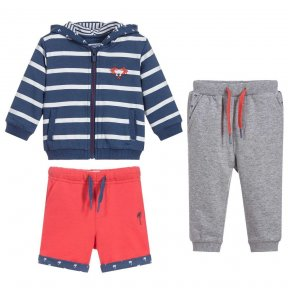 Baby boys three-piece set by Mayoral, with a blue and white stripe zip-up hooded top, grey joggers and red shorts, all made in soft and comfortable jersey, the items can be mixed and matched.