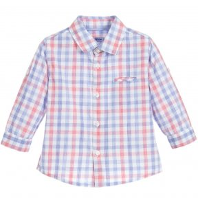 This boys red and blue check shirt by Mayoral, is made is soft lightweight cotton. There are buttons to fasten and long sleeves, that fold back and can be secured with tabs and buttons for warmer days and casual wear.