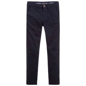 Navy blue, slim fit trousers by Mayoral, from the brand's boys range. In a chino style, they are a lovely soft feel and are super comfortable to wear. The waist is adjustable for a perfect fit.