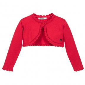 Softly knitted in fine cotton, this red cardigan will be comfortable for little girls to wear. In a bolero style, it has a single button fastening and pretty crocheted edging.