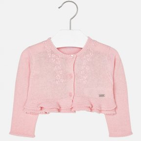 This pink cardigan by Mayoral is made in a soft cotton knit. It has pretty detailing to the edges and fastens with 3 buttons, and has delicate flowers embroidered into the front.