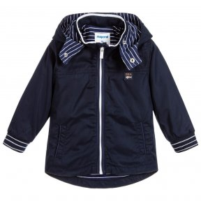 Navy blue jacket for little boys by Mayoral, with a striped jersey lining and matching stripes on the ribbed cuffs. Silky smooth and lightweight, it has two front pockets and a useful detachable hood.