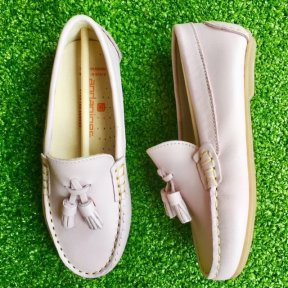 Andanines pale pink leather slip-on girls loafers Eco Rosa