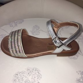 Andanines silver sparkle leather girls sandal