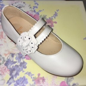Andanines white patent leather velcro buckle sparkle flower girls mary-jane shoes