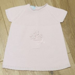 Floc baby girls pale pink knitted button at back dress with flowers.