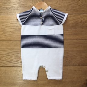 Floc unisex white & navy striped button fastening romper