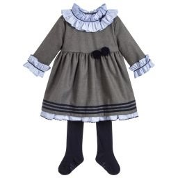 Soft grey dress set with a blue striped ruffle collar and cuffs. It is fully cotton lined for comfort and it comes with a soft and stretchy pair of navy blue tights. AW18 5230