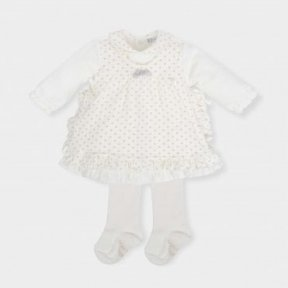 Tutto piccolo girls ivory dress & tights set. Frilled edge and bows with a silver sparkle crown print. AW18 5296