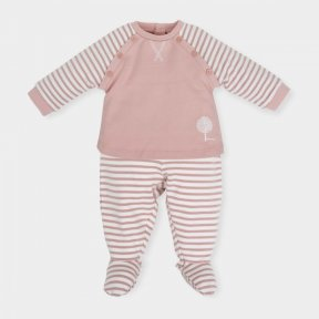 Tutto Piccolo girls salmon pink stripped 2 piece cotton jersey set - AW18 5491