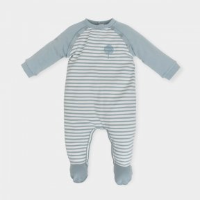 Tutto Piccolo sea-green striped cotton jersey baby grow AW18 5091