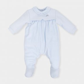 Tutto Piccolo Baby boys pale blue velour baby grow - AW18 5093