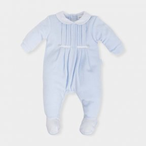 Tutto Piccolo Baby boys pale blue velour baby grow - AW18 5098