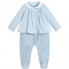 Laranjinha blue babygrow . Made in soft cotton jersey, with a warm fleece lining. The attached cotton blouse is lightweight, fastens with concealed poppers and has a star print. AW18 18448