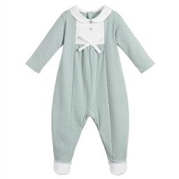 Laranjinha printed cotton jersey babygrow with plain cotton jersey details on chest and feet. It fastens at the back and between the legs with coloured poppers. Soft cotton collar. Decorative bow and mother-of-pearl buttons. AW18 18412