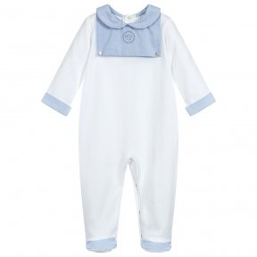 Laranjinha white babygrow made in cotton jersey, this  babygrow has a warm, fleecy inside. There is  pale blue & grey dot detail to the collar cuffs, bib and feet and embroidered grey bird on the front panel. AW18 18334