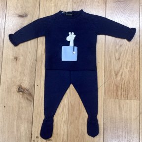 Floc navy knitted 2 piece set. Top fastens with mother-of-pearl button at the back. and has a giraffe motif to the front. Bottoms have soft elasticated waist and feet.