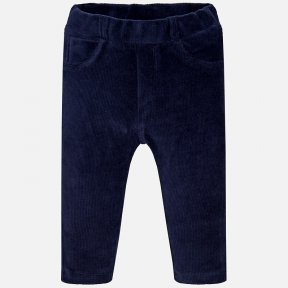 Mayoral baby girls navy blue trousers made in corduroy with false pockets. They have elasticated waist for a better fit. A/W18 514