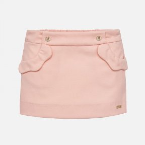 Mayoral baby girls baby pink short skirt  with invisible zip on the side and an adjustable elasticated waistband, It has 2 scalloped pockets on the front. This skirt has a gathered and flared effect from the hip at the back. A/W 18 2904