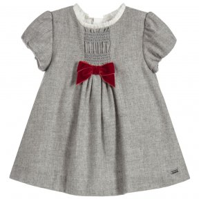Mayoral baby girls short sleeved grey dress with a white ruffled round neck collar and zip fastening to the back. The dress is made from soft fabric with a cotton lining and has frilled detailing with smocking and an applique red bow. A/W18 2914