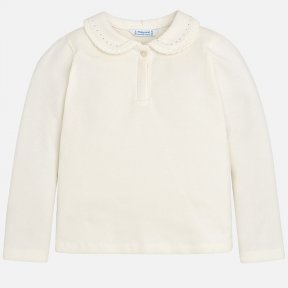 Mayoral mini girls cream long sleeved collared  top, silver detailing to the collar with front button fastening. A/W18 131