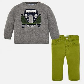 Mayoral baby matching jumper and trousers set. Long sleeved grey jumper. There are buttons on the shoulder.  It has a car design on the front of the garment. Comfortable  trousers with a popper fastening. There is an elasticated waistband and they have 4