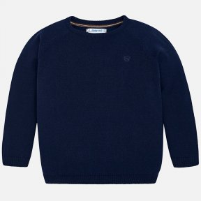 Mayoral mini navy blue jumper with ribbed collar, cuffs and hem. The only detail is a small embroidery at the front on the chest. A/W18 323