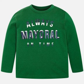 Mayoral mini green long sleeved t-shirt for boy, with a design to the front.It is made from a cotton fabric with a round neck. A/W18 173