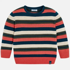Mayoral mini striped jumper for boys with contrasting coloured round neck. It is made from warm, soft, knit fabric. A/W18 4314