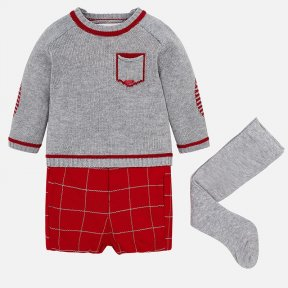 Mayoral newborn  baby boys three piece set, includes a jumper, tights and contrasting shorts. The grey round neck jumper has red detail to the elbows, neck, cuffs and hem. There are button fastenings on the shoulders. The red shorts have an elasticated wa