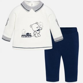 Mayoral navy blue and cream two-piece set for newborn babies includes a sweatshirt and matching trousers. Long sleeved sweatshirt with grey contrasting coloured elasticated cuffs and shirt collar. There are press studs on the back to fasten. Made from com