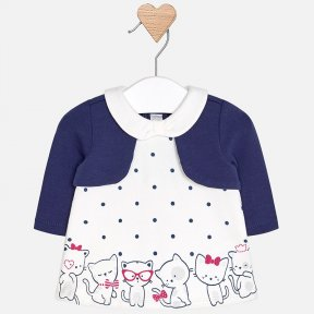 Mayoral newborn off white and navy blue polka dot dress with a false navy blue bolero to the front. The dress has a cute kitten print on the hemline and popper fastening down the back. A/W18 2818