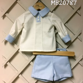 Pretty Originals 2 piece shorts and shirt set. Shorts are fully lined with a half elasticated, adjustable waist with 2 side buttons and 2 side pocket.s Cream shirt with blue collar and cuffs. Full length back button fastening.