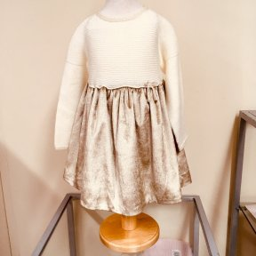 Wedoble winter dress. Soft cream knitted top with gold sparkle embellishment to the collar and cuffs. Fully line sparkly gold velvet skirt. Full length button fastening to the back.