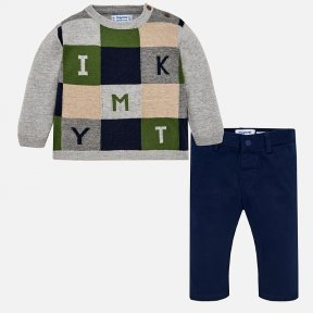 Mayoral Matching jumper and trousers set for baby boy. Long sleeved  grey jumper with  buttons on the shoulder.  Letters design on the front of the garment. Comfortable  navy blue, slim fit , fabric trousers with a popper on the front to fasten and adjust