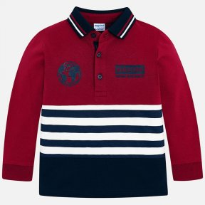Mayoral boys Long sleeved polo shirt  with classic polo shirt collar and detailing in a different colour. It is made from 100% cotton and has decorative features on the front and back of the garment and a striped design. A/W18 4110