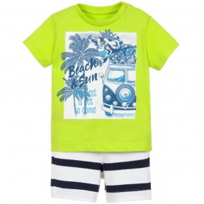 Mayoral boys 2 piece lime green, navy and white soft jersey shorts set.