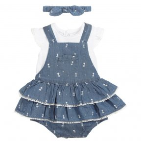 Baby girls blue three-piece dress set from Mayoral Newborn. The dress has a lace trimmed ruffle skirt with attached knickers underneath and adjustable shoulder straps. The white T-shirt is made in soft cotton jersey, with ruffle sleeves. It comes with a m
