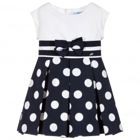 Girls white and navy blue polka dot dress from Mayoral, with sparkly silver detail. Made in soft mid-weight cotton, with a lightweight polycotton lining. It has a pretty bow on the waist and a full, pleated skirt.